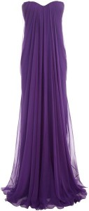 Purple Draped Bustier Gown by Alexander McQueen via Lyst.com.
