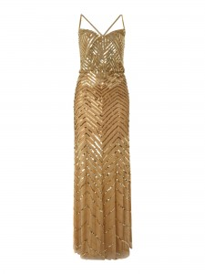 Gold Beaded Blouson Style Dress by Untold via Lyst.com.