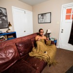 Eldridge smokes a cigarette and settles in for the night at his home. Eldridge said drag has been an exciting adventure because he gets to experiment not just with gender identity but with his identity as a person. He said it's a very freeing experience.