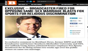 Screenshot of the Breinbart News page with the story headline and photo of Craig James