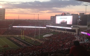 View of the new scoreboard at Jones AT&T Stadium during a Texas Tech home football game