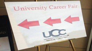 Entrance sign to the career fair at the Overton