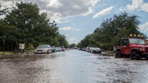 27th Street flooded in Lubbock. Picture by Casey Smith.