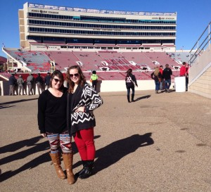 Entertainment Director Erin Willis and I at our first football game in 2013.