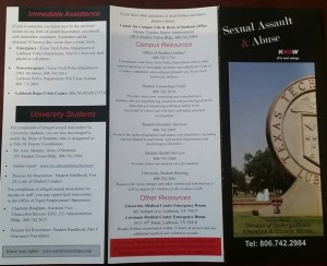 A brochure given out by the Texas Tech Student Resolution Center offers information and resources regarding sexual violence. Maddy McCarty/The Hub@TTU.