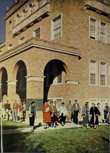 Students milling around Tech's campus in 1957. Photo from the 1957 La Ventana