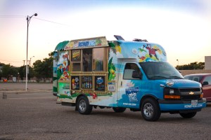 The Kona Ice truck at the Second Saturday event for the Roosters Food Truck Yard. Photo by Blaine Hill.