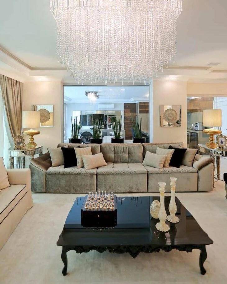 sofas modernos para sala de tv gl top sofa table 60 modelos deixar sua mais confortavel e bonita amplo 3 lugares esta elegante foto reproducao officio arte