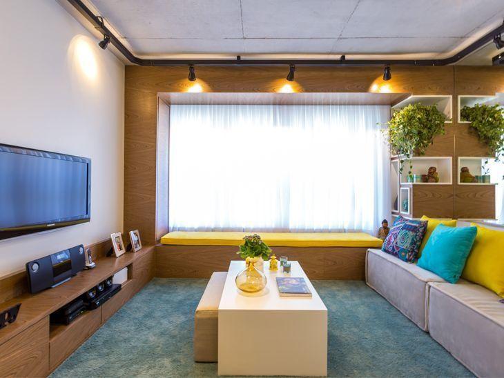 Um projeto de apartamento decorado com estilo industrial