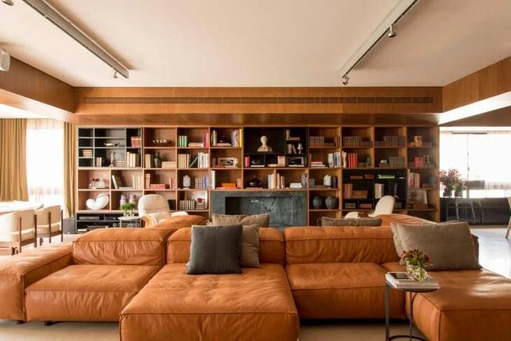Sof marrom 80 modelos para arrasar na decorao da sala