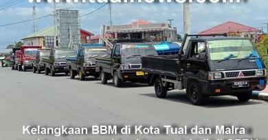 Antrean kendaraan Kota Tual dan Malra di SPBU