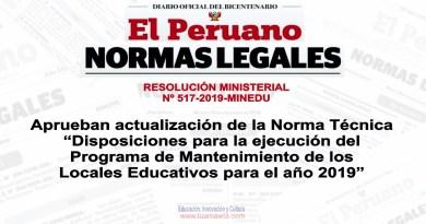 """Aprueban actualización de la Norma Técnica """"Disposiciones para la ejecución del Programa de Mantenimiento de los Locales Educativos para el año 2019"""""""