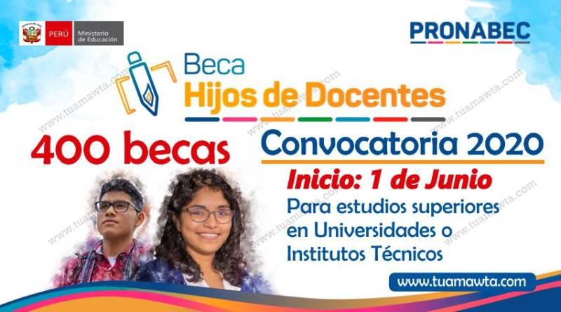 PRONABEC: Beca Hijos de Docentes – Convocatoria 2020 | MINEDU