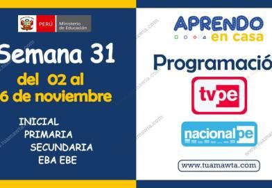 Aprendo en Casa: Programación TV + Radio – Semana 31 [02 al 06 de noviembre]
