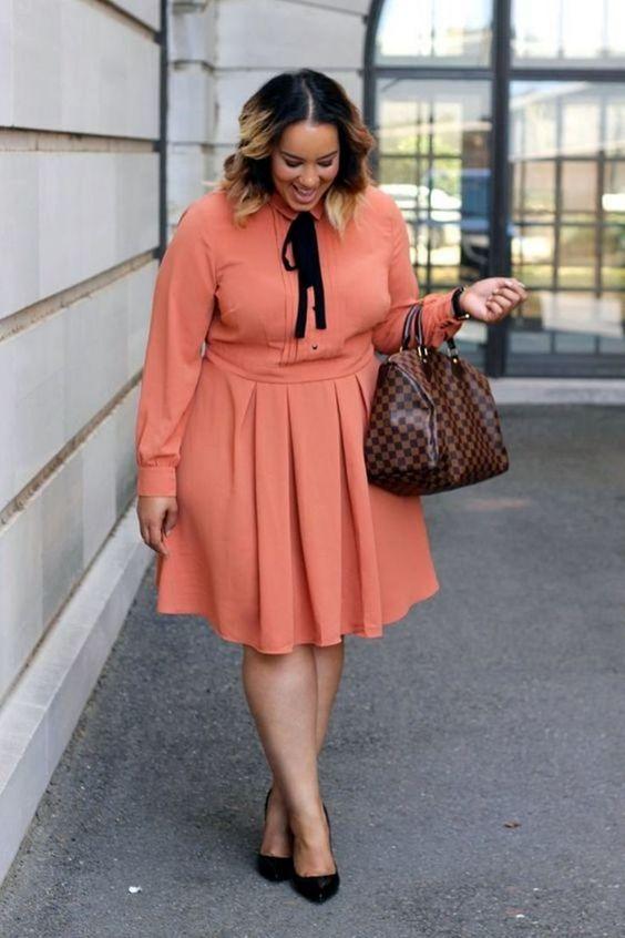 vestido melocotón talla grande para oficina