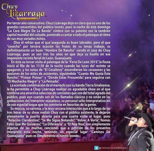 Chuy Lizárraga se presenta con éxito ante su público en León