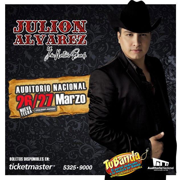 Nueva Fecha 26 de marzo Julión Álvarez en el Auditorio Nacional