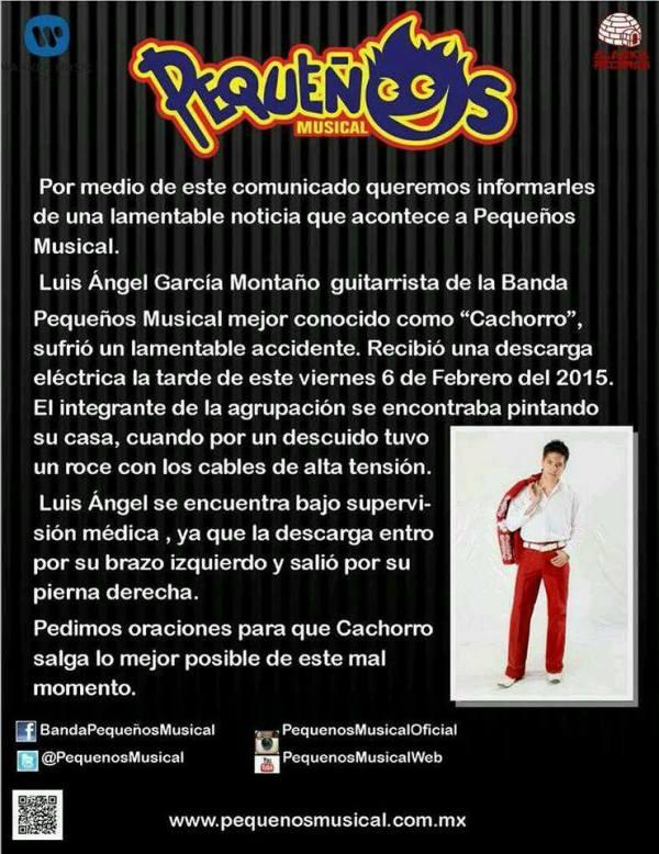 "Luis Ángel ""Cachorro"",  guitarrista de Pequeños Musical sufre accidente"
