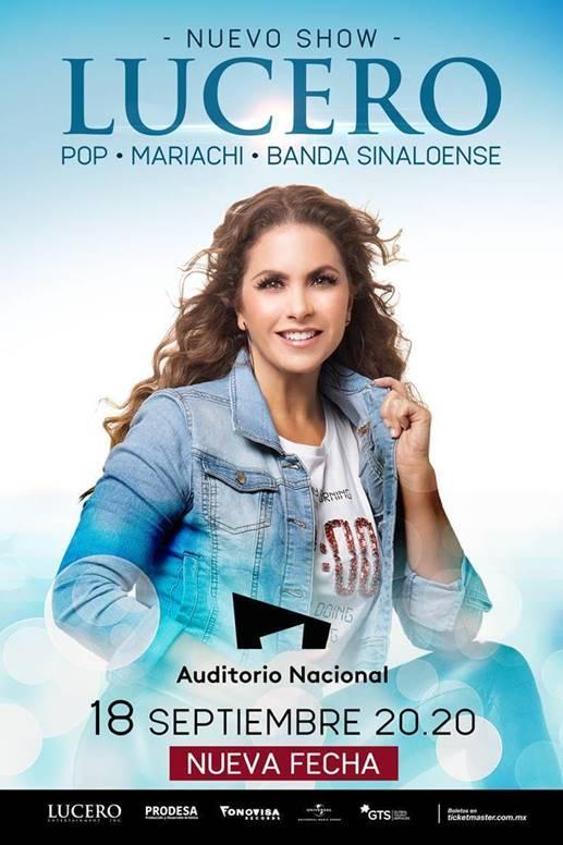 Lucero llegara al Auditorio Nacional el próximo 18 de septiembre 2020
