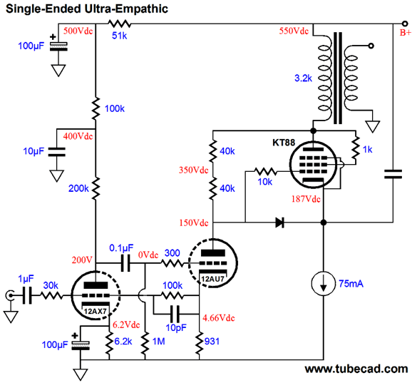 Single Ended El84 Lifier Schematic, Single, Free Engine