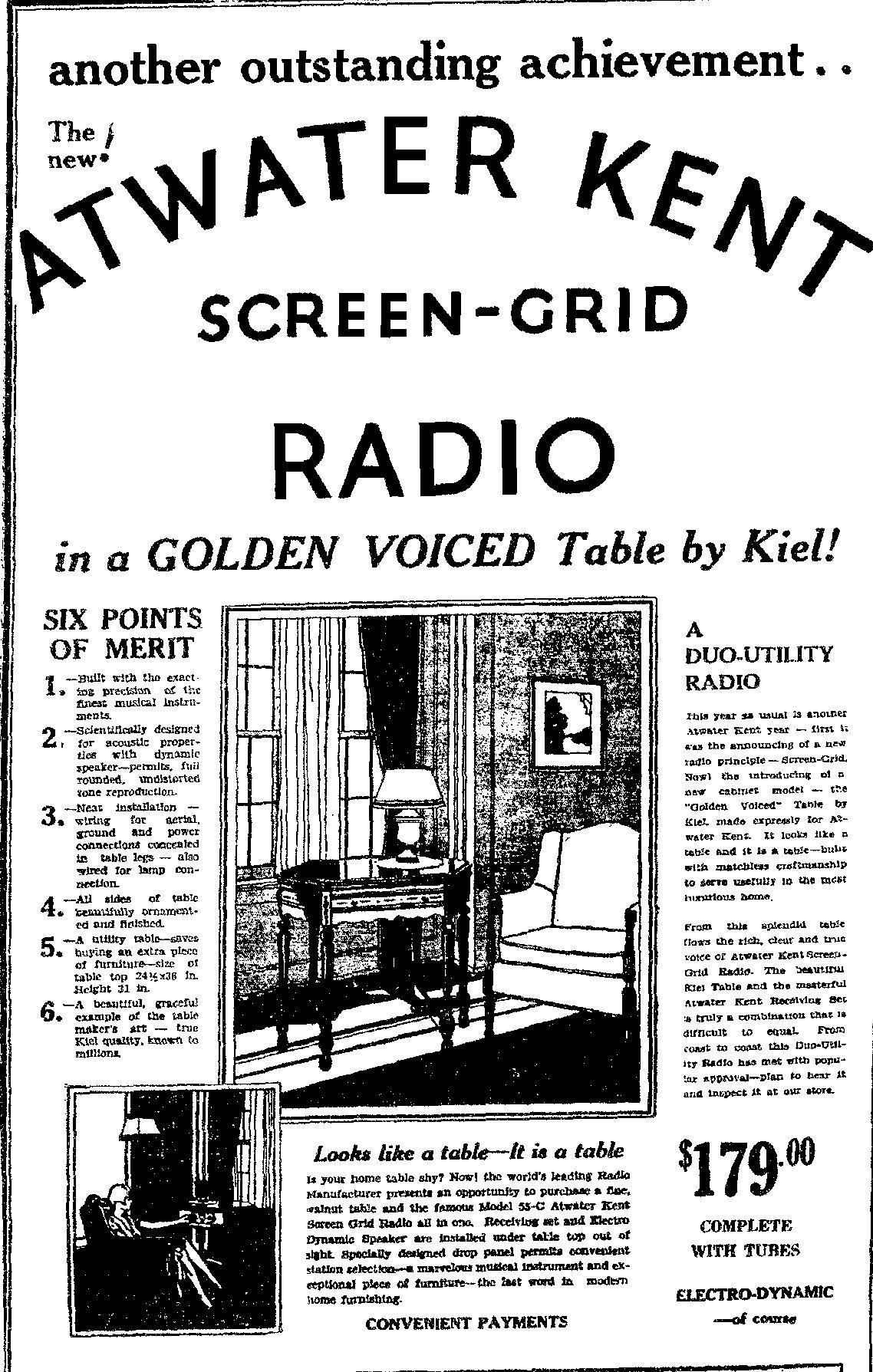Atwater Kent Model 55c Radio In Kiel Table
