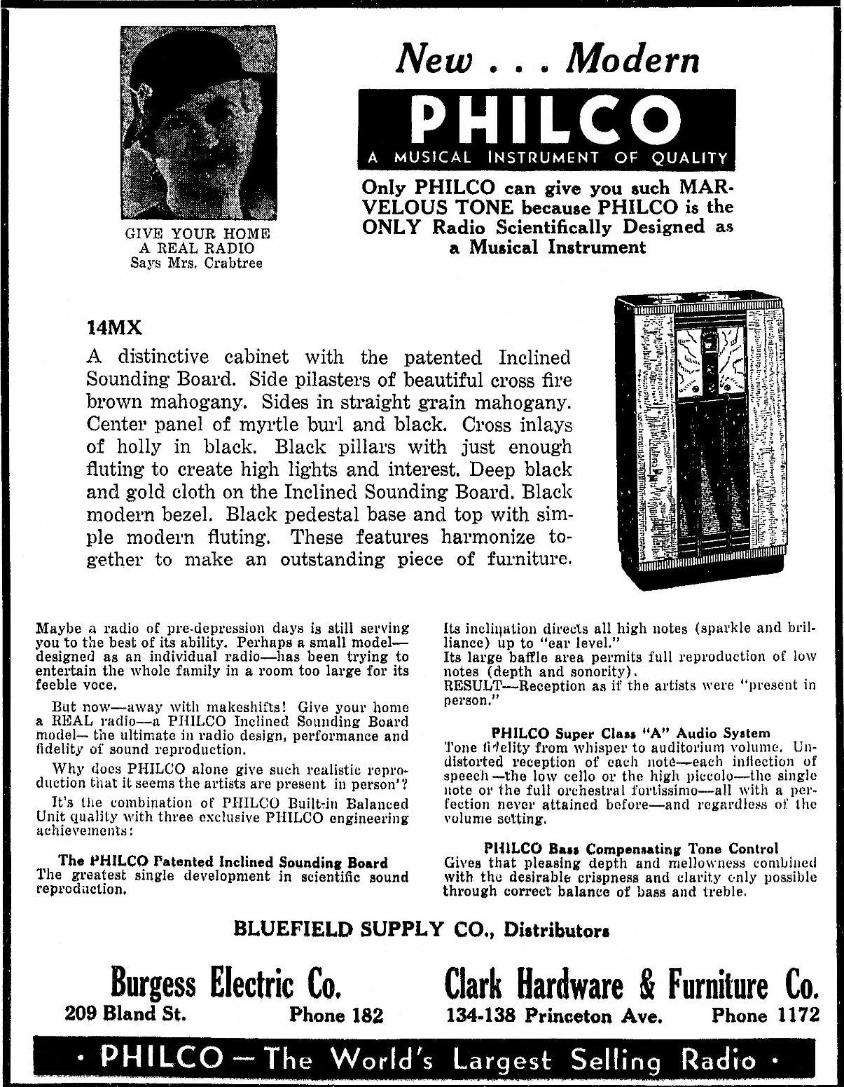 Philco Model 14MX Console Radio (January 1934)