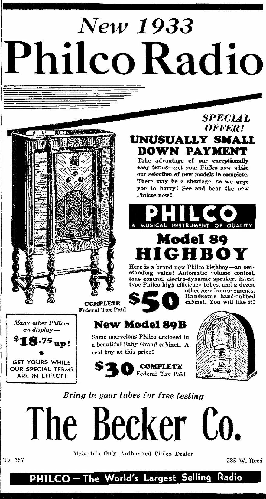 Philco Model 89 (89B) Cathedral Radio (1933)