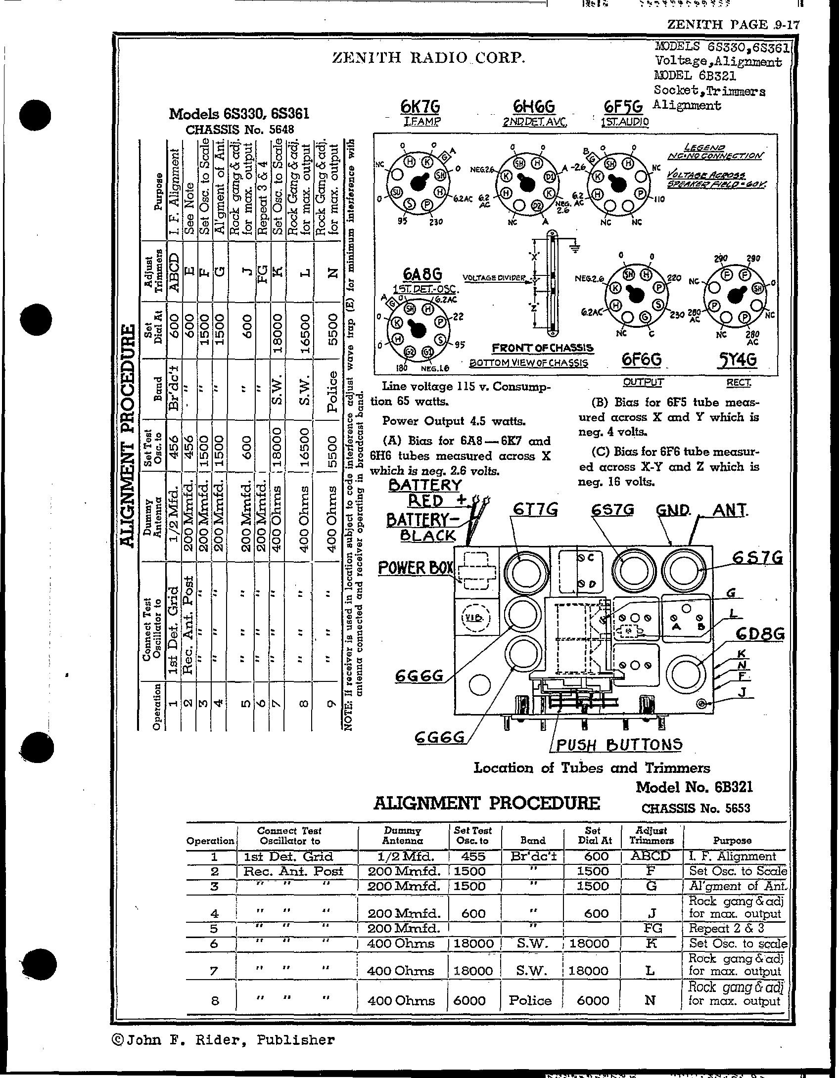 Zenith Radio Corp 6s330