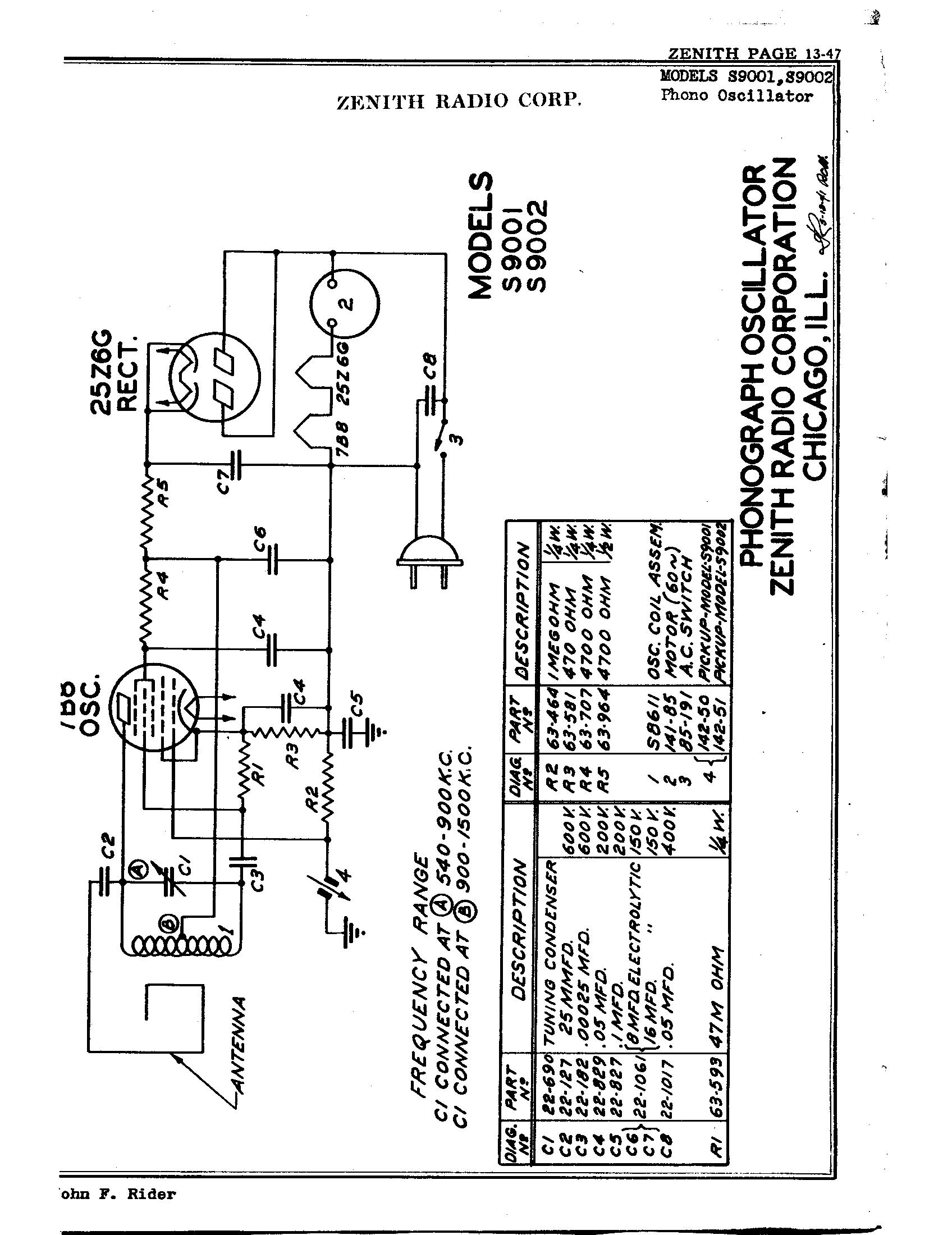 Zenith Radio Corp Phono Oscillator
