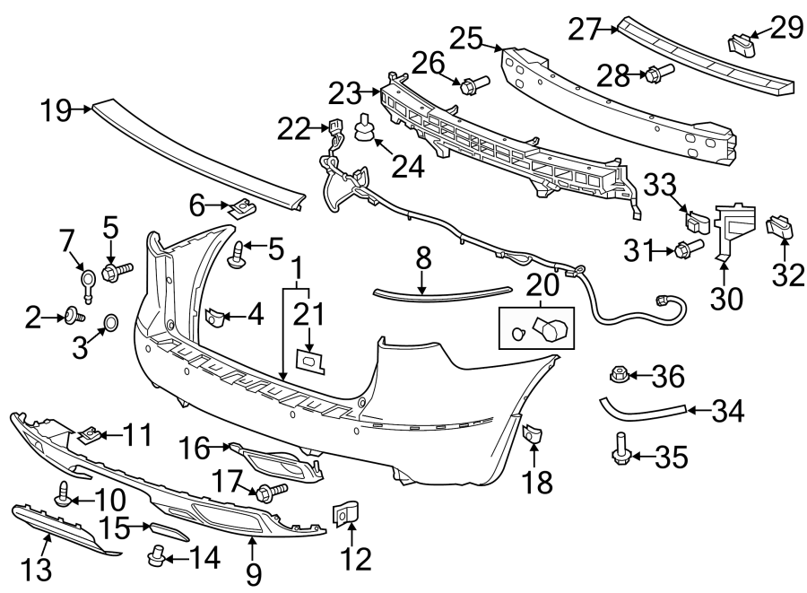 2015 Buick Parking Aid System Wiring Harness (Rear). 2013