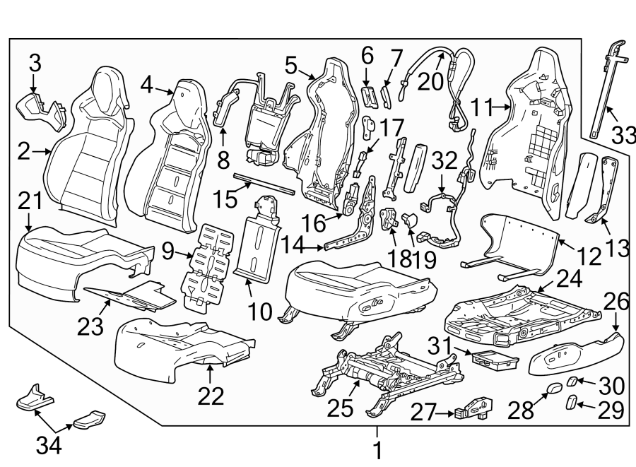 Chevrolet Corvette Power Seat Wiring Harness. W/HEATED