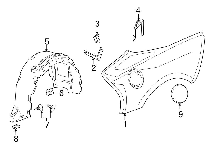2016 Chevrolet Corvette Quarter Panel Splash Shield