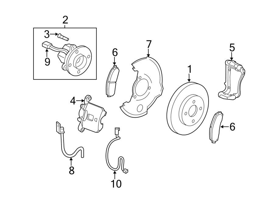 Chevrolet HHR Abs wheel speed sensor wiring harness (front