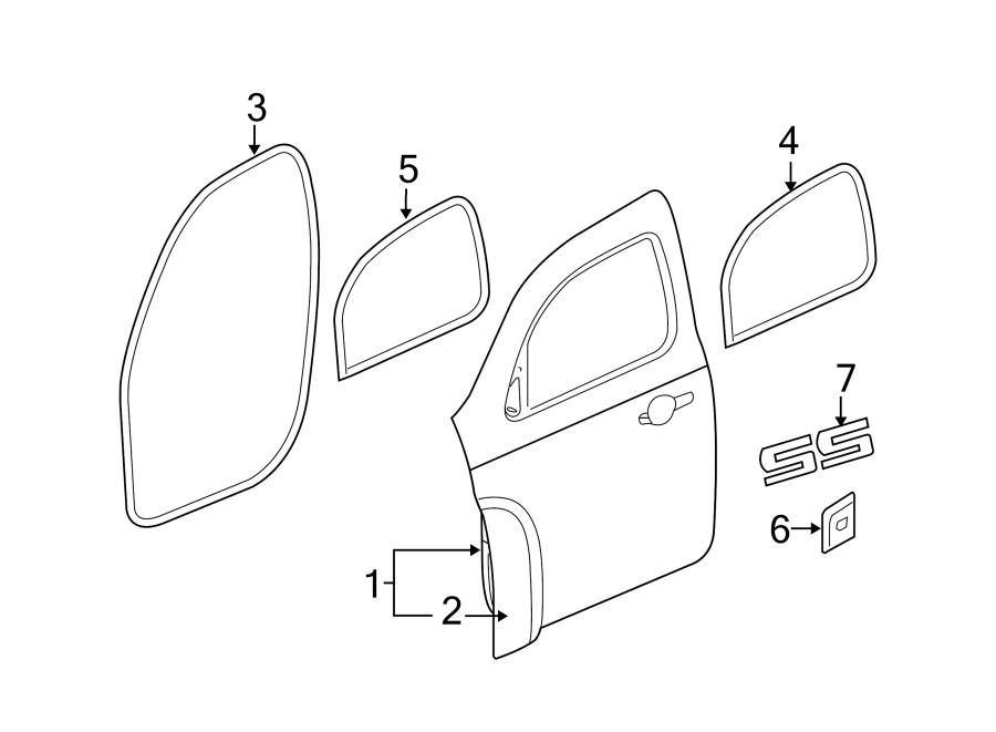 Chevrolet HHR Door Seal (Front, Upper, Lower). Left, Body