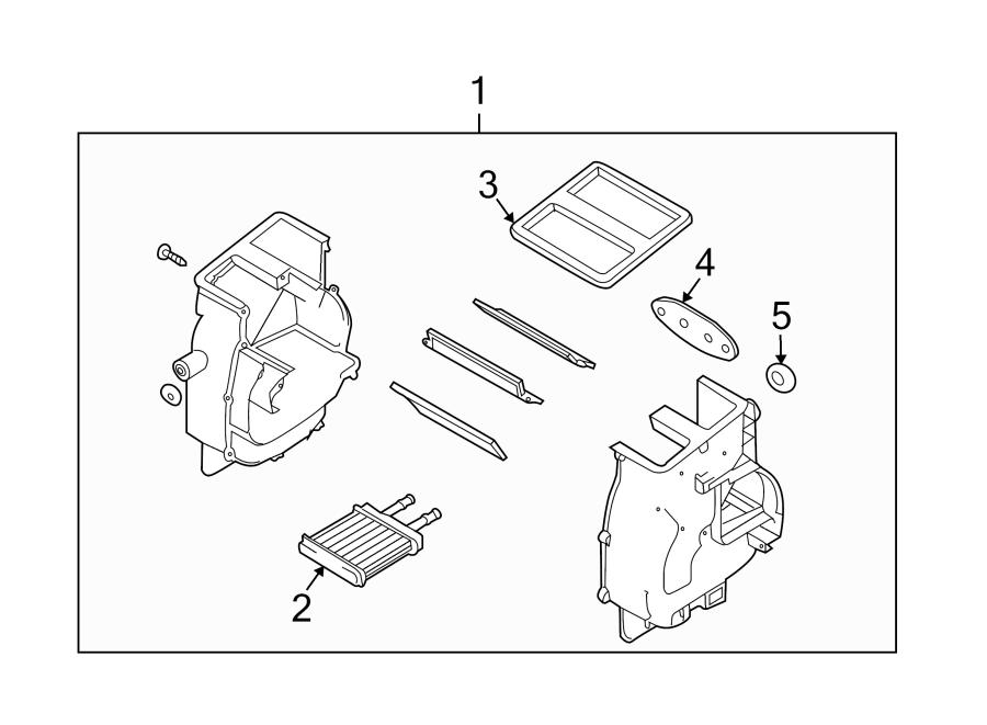 Chevrolet Aveo Hvac heater core case assembly. Sedan,. W/o