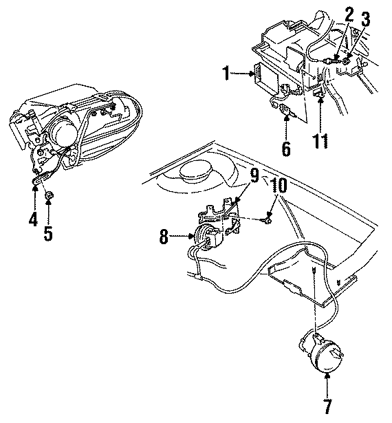 Oldsmobile Cutlass Supreme Retainer. CABLE. CLIP. Actuator