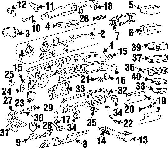 GMC K1500 Suburban Fuse Box. 1995-00, 1997-00. 1997-02