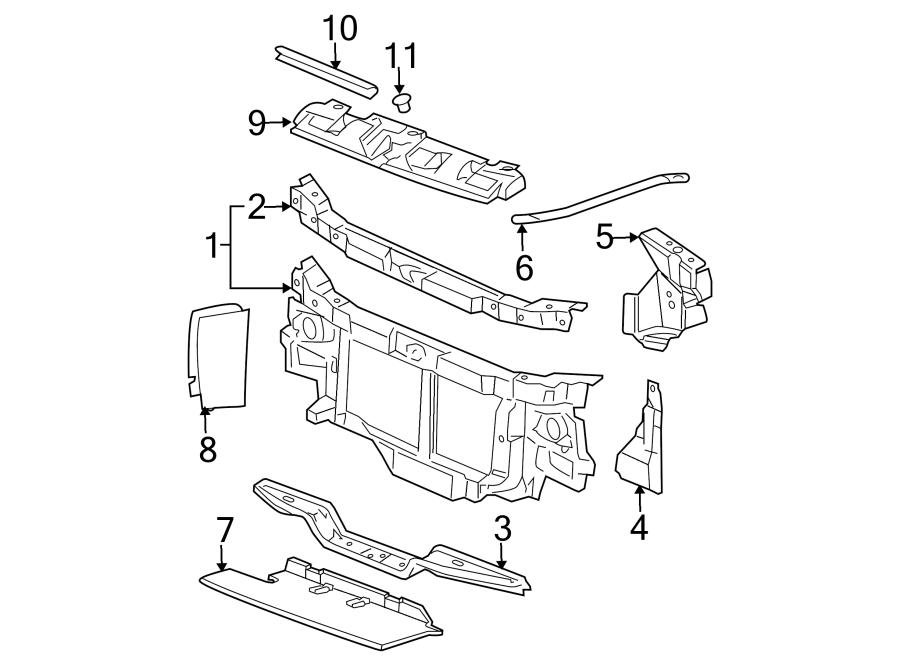 Chevrolet Express 2500 Radiator Support Tie Bar (Lower). 2