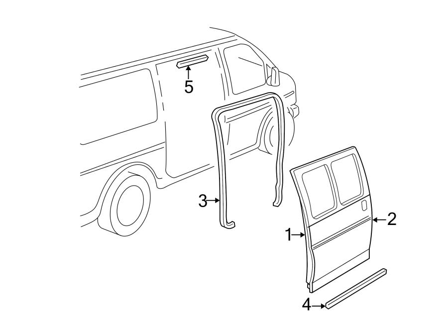 GMC Savana 3500 Door Seal (Rear). HINGED TYPE. SLIDING