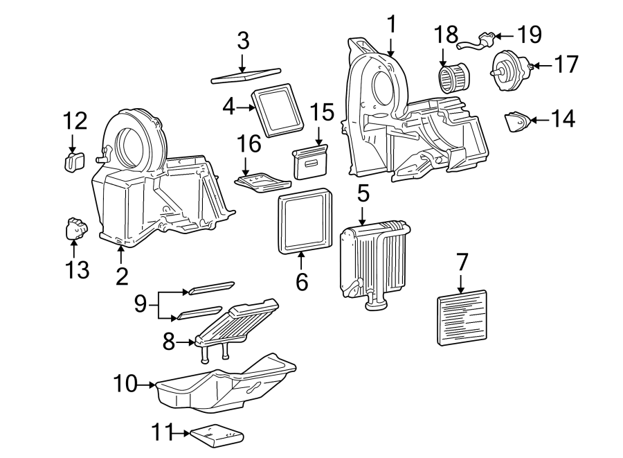 2000 Chevrolet Hvac heater core. Rear, conditioner
