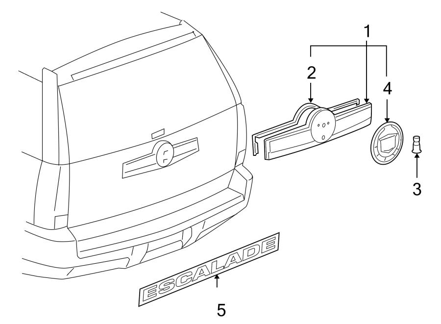 Cadillac Escalade Liftgate Finish Panel. CADILLAC, w/rr