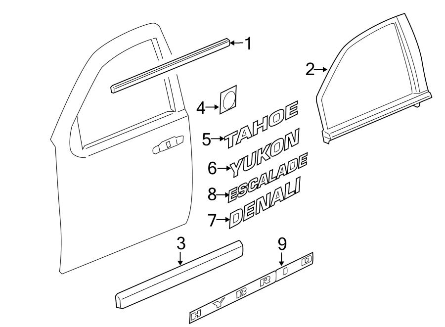 Cadillac Escalade Door Reveal Molding (Front, Upper). Left