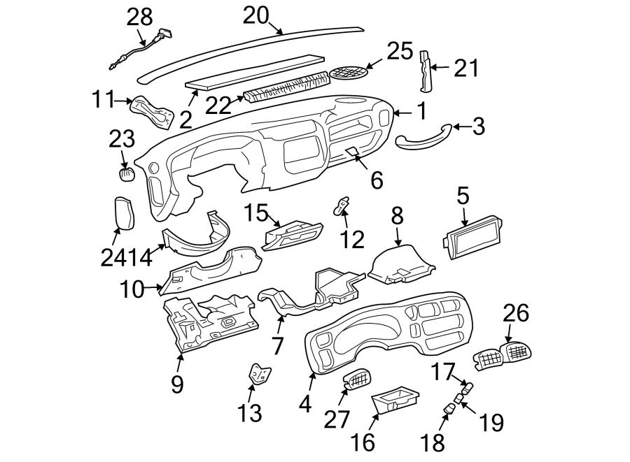 GMC Jimmy Parking Brake Pedal Release Handle. 1998-04