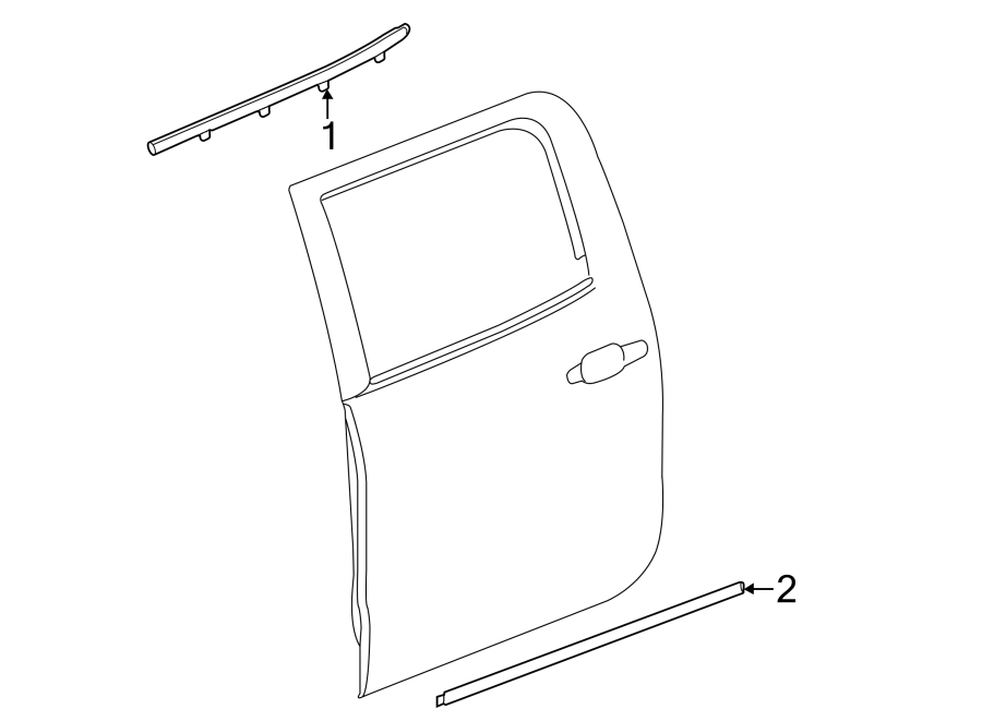 GMC Sierra 1500 Door Belt Molding (Upper). CREW CAB