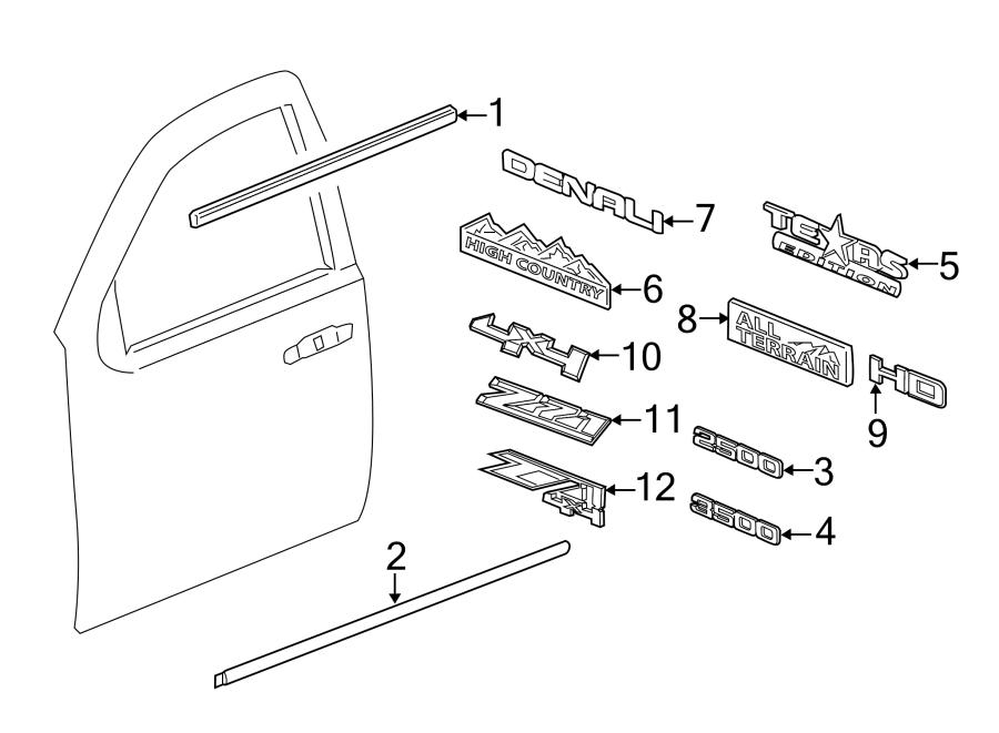 Chevrolet Silverado 2500 HD Door Molding (Lower). Double