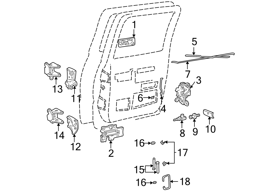 Chevrolet K2500 Hinge. Retainer. Pin. 1/2, 3/4 & 1 Ton