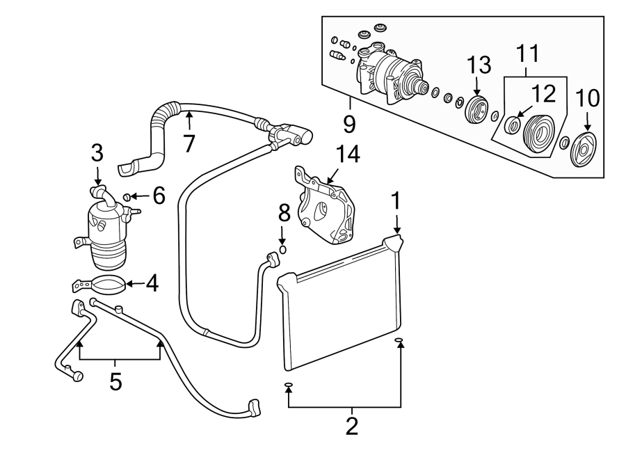 2003 Chevrolet Bracket. Compressor. Alternator. DIESEL