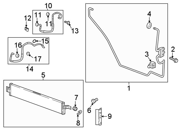 Chevrolet Traverse Transmission Oil Cooler Line Clip. 2.0