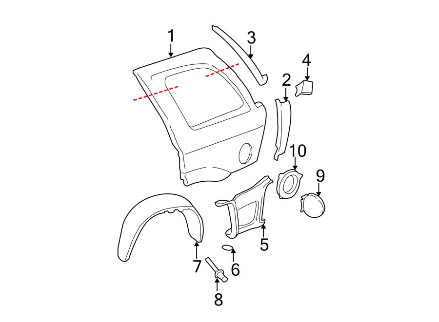 Oldsmobile Bravada Quarter Panel (Rear). OLDSMOBILE