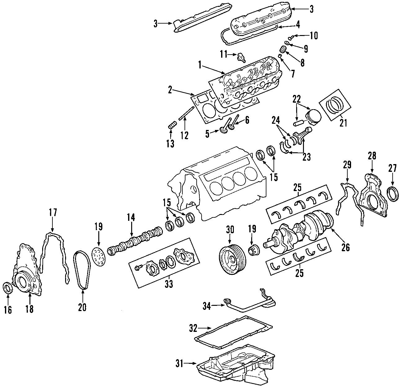 Hummer H3T Engine Camshaft Bearing. Models, Silverado